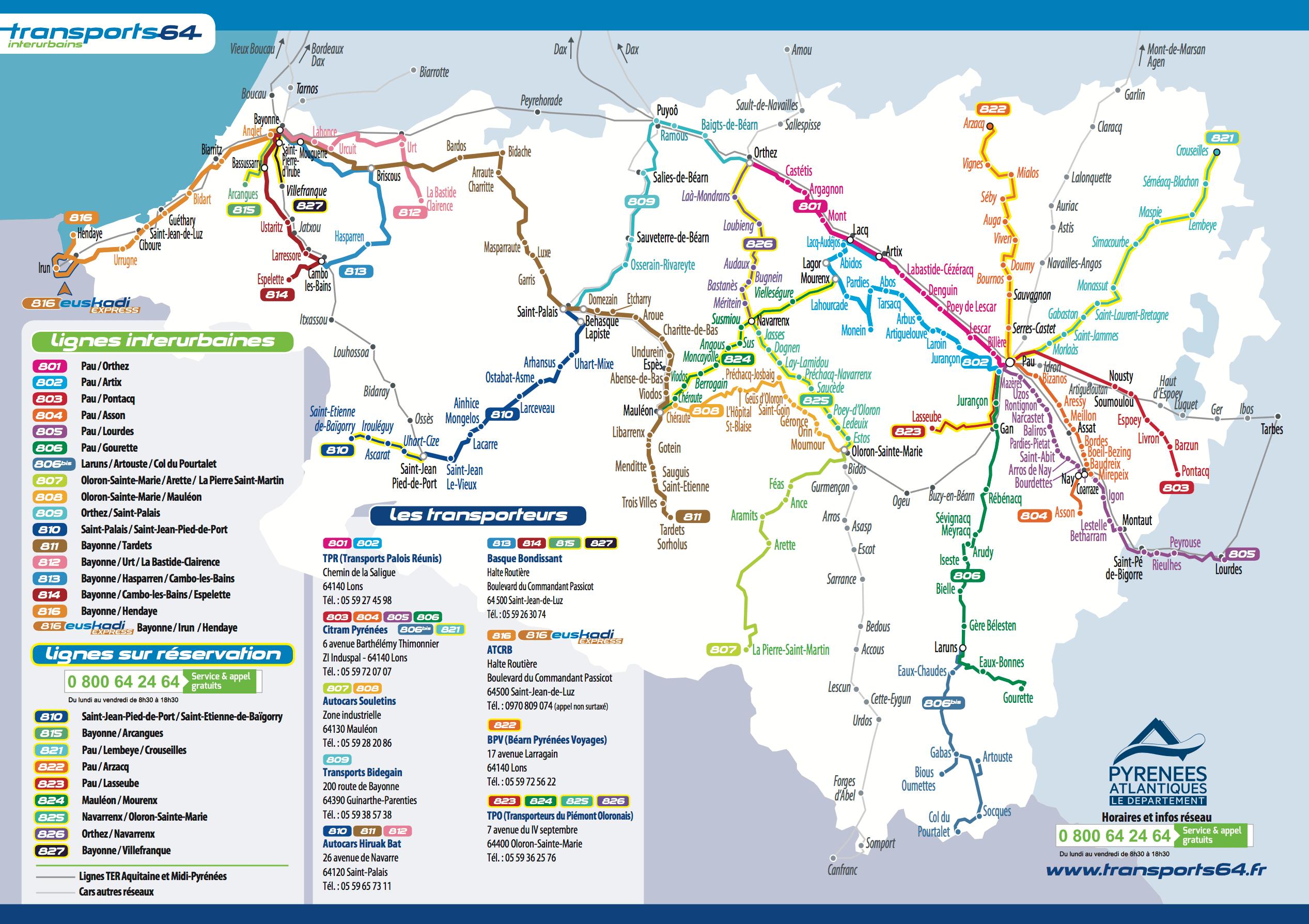 Carte des lignes de bus - Transports 64